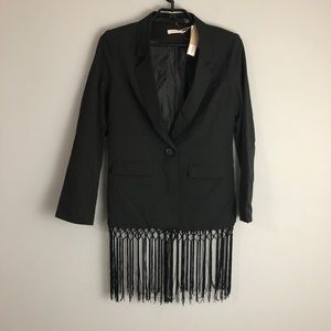 Makers of Dreams Black Fringe Jacket Blazer